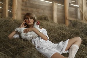 dress chickens tatiana mercalova anastasia scheglova knee-highs model women barns blue eyes tattoo