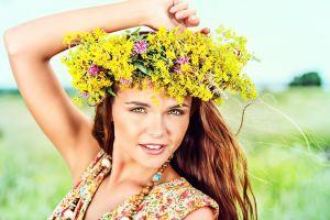 dress flowers auburn hair women green eyes face arms up women outdoors depth of field