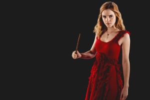dress hermione granger simple background actress red dress women harry potter movies black background wizard emma watson
