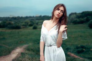 dress long hair women model women outdoors georgy chernyadyev viktoria vishnevetskaya brunette