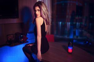 dress looking at viewer long hair women bare shoulders model pantyhose dyed hair ivan gorokhov table galina rover arms black dress
