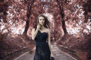 dress model juicy lips women outdoors women alessandro di cicco depth of field portrait blue eyes