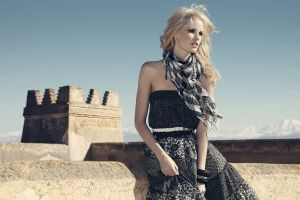 dress women black dress open mouth scarf blonde women outdoors bangles bare shoulders