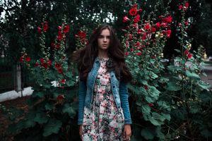 dress women flowers plants