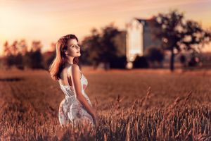 dress women outdoors model women redhead