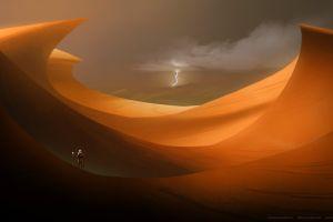 dune astronaut desert science fiction lightning