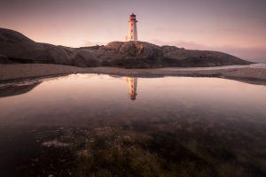 dusk beach pond reflection lighthouse