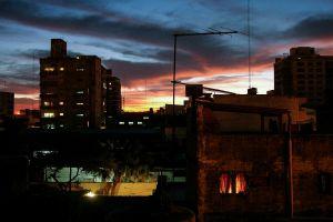 dusk city urban