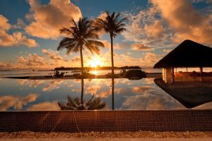 dusk sunset water swimming pool hut