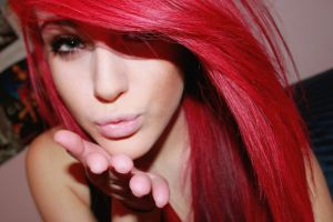 dyed hair redhead women face blowing kiss blue eyes closeup