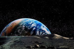 earth planet landscape nature horizon space moon stars astronomy universe