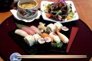 eating food sushi