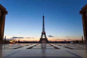 eiffel tower sunrise cityscape city paris