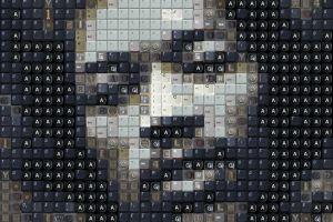 electric guitar text portrait mosaic singer artwork numbers jimi hendrix men face keyboards blues rock musician