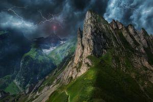 electricity path mountains storm landscape nature lightning summer mist clouds grass