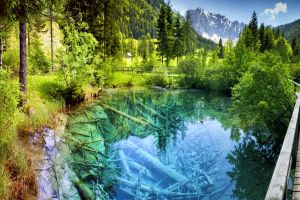 europe landscape nature summer water turquoise walkway shrubs pond austria fence forest snowy peak reflection trees
