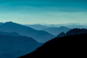 evening forest sky nature landscape silhouette hills blue horizon valley