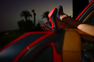 evening palm trees car interior women black heels legs depth of field high heels model stiletto car