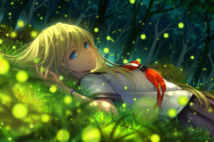 everlasting summer blonde blue eyes anime trees anime girls school uniform artwork grass
