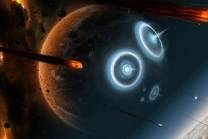 explosion digital art meteors planet burning universe fire space stars