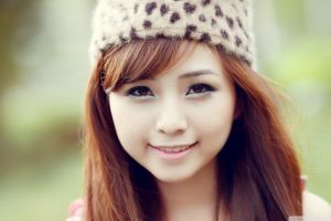 eyeliner asian women with hats redhead long hair face portrait smiling women