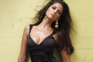 eyeliner model black dress carla ossa long hair cleavage brunette women looking at viewer