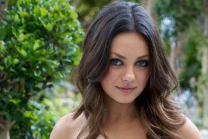 eyes actress women outdoors brunette celebrity wavy hair mila kunis portrait