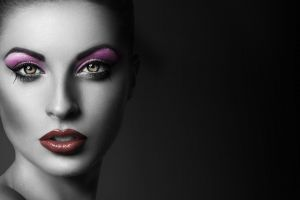 eyeshadow looking at viewer selective coloring women face red lipstick