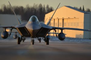 f-22 raptor military base us air force sunset aircraft military aircraft