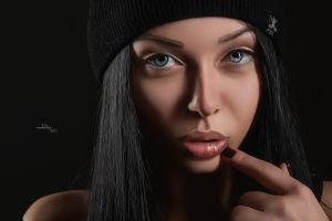 face black background closeup blue eyes cgi women
