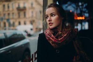 face black coat window julia tavrina red lipstick ivan proskurin looking away brunette women scarf looking out window