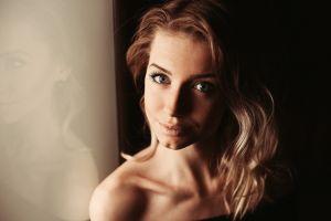 face blue eyes bare shoulders model blonde portrait women