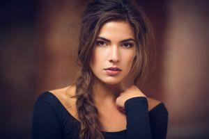face brunette long hair women braids auburn hair