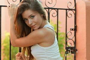 face brunette model lily c women