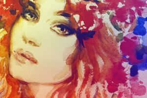 face colorful artwork painting women