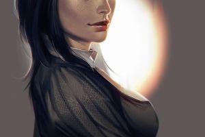 face dark hair fan art blue eyes women artwork