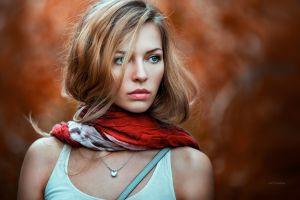 face depth of field model blonde blue eyes white tops portrait juicy lips women scarf