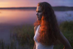 face depth of field redhead side view women model wavy hair