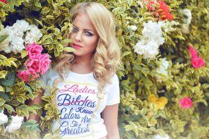 face flowers portrait model women blonde