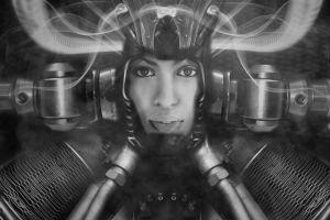 face futuristic monochrome cyberpunk