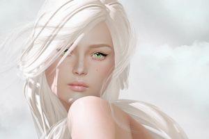 face green eyes simple background fantasy art fantasy girl women long hair artwork