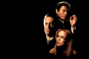 face joe pesci looking at viewer gangsters movie poster legends actor black background robert deniro sharon stone actress martin scorsese suits movies long hair
