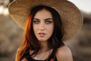 face looking at viewer brunette women portrait women outdoors hat blue eyes aurela skandaj model