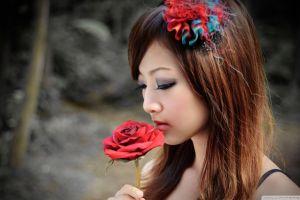 face makeup asian women red flowers blurred brunette flowers taiwanese closed eyes auburn hair mikako zhang kaijie