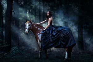 face mask blue dress model women brunette women with horse long hair