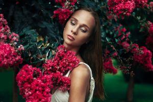 face model women flowers portrait