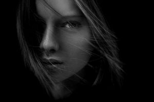 face portrait women monochrome model