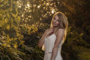 face portrait women outdoors blonde model women white dress