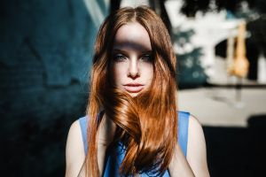 face redhead women freckles portrait model