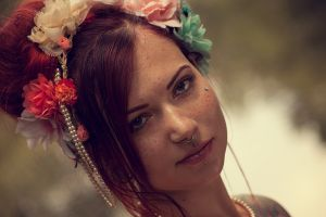 face redhead women piercing model freckles